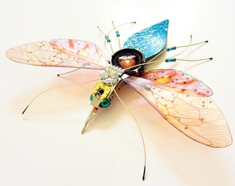 The 'Through the Looking Glass' Circuit Board Insect by Julie Alice Chappell