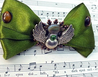 "Gift for Her, Gift, Steampunk Gift, Steampunk Hair Clip Barrette ""Regency In Moss"""