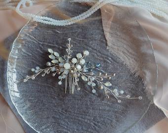 Blue opal Hair vine-Crystal Weddind Hair Comb- Bridal Hair Vine -Wedding hair piece-Bridal headpiece-Wedding hair vine-Rose gold Hair Vine