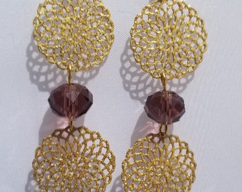 Amethyst Glass/Unakite Glass/Filigree Metal Earring/14KGP Ear Hook