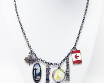 A Taste of Canada Antique Bronze Charm Necklace