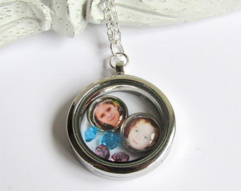 Floating Charm Locket, Personalized Photo Charm Locket, Gift For Mom, Photo Necklace