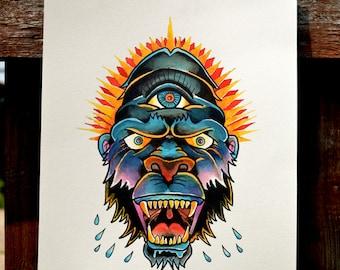 Gorilla Traditional tattoo print