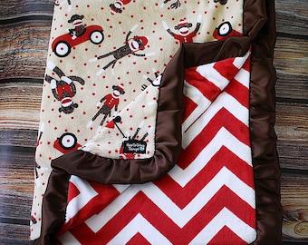 Baby Blanket, Minky Blanket, Baby Boy, Red and White, Sock Monkey Blanket, Chevron Blanket, Baby Gift, Brown and Red, sock monkey