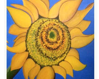 sunflower. fine art print of original painting. garden.flowers. floral. botanical. home decor.