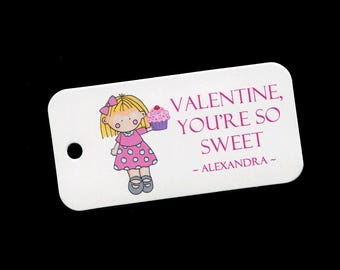 Valentine Tags - Personalized Valentines Day Tags - Girls - Cupcake - Gift Tags - Classroom Party Tags - Tags for Valentine Gifts