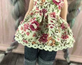 Middie Blythe Top and Jeans Set - Maroon Floral