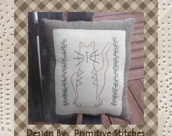 Louie the Cat-Primitive Stitchery PATTERN-Instant Download