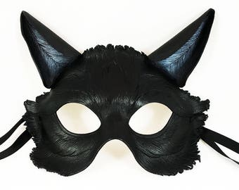 Black Cat Leather Mask