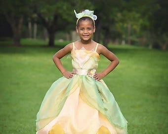 Tiana Dress / Disney Princess Dress Princess and the frog Costume / Ball gown style for toddler, child, girl, baby