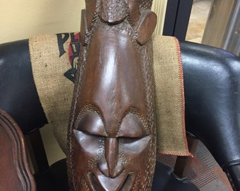 Amazon rainforest tribal hand carved mask