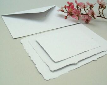 Wedding invitation sample set, white handmade recycled papers, deckle edge, 1 set
