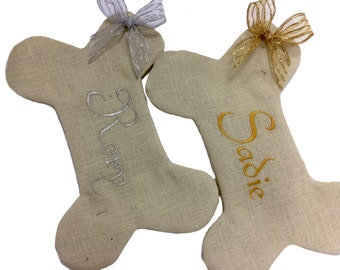 Dog Bone Christmas Stocking, Burlap Dog bone Christmas Stocking, Personalized Pet Christmas Stocking, Dog Bone Christmas Pet Stocking