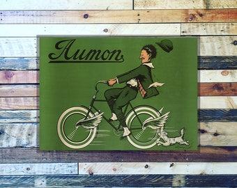 Aumon Bicycle Man & Dog Vintage Ad, Vintage Art, Vintage Bicycle Ads, Bicycle Art, Giclee Art Print, fine Art Reproduction