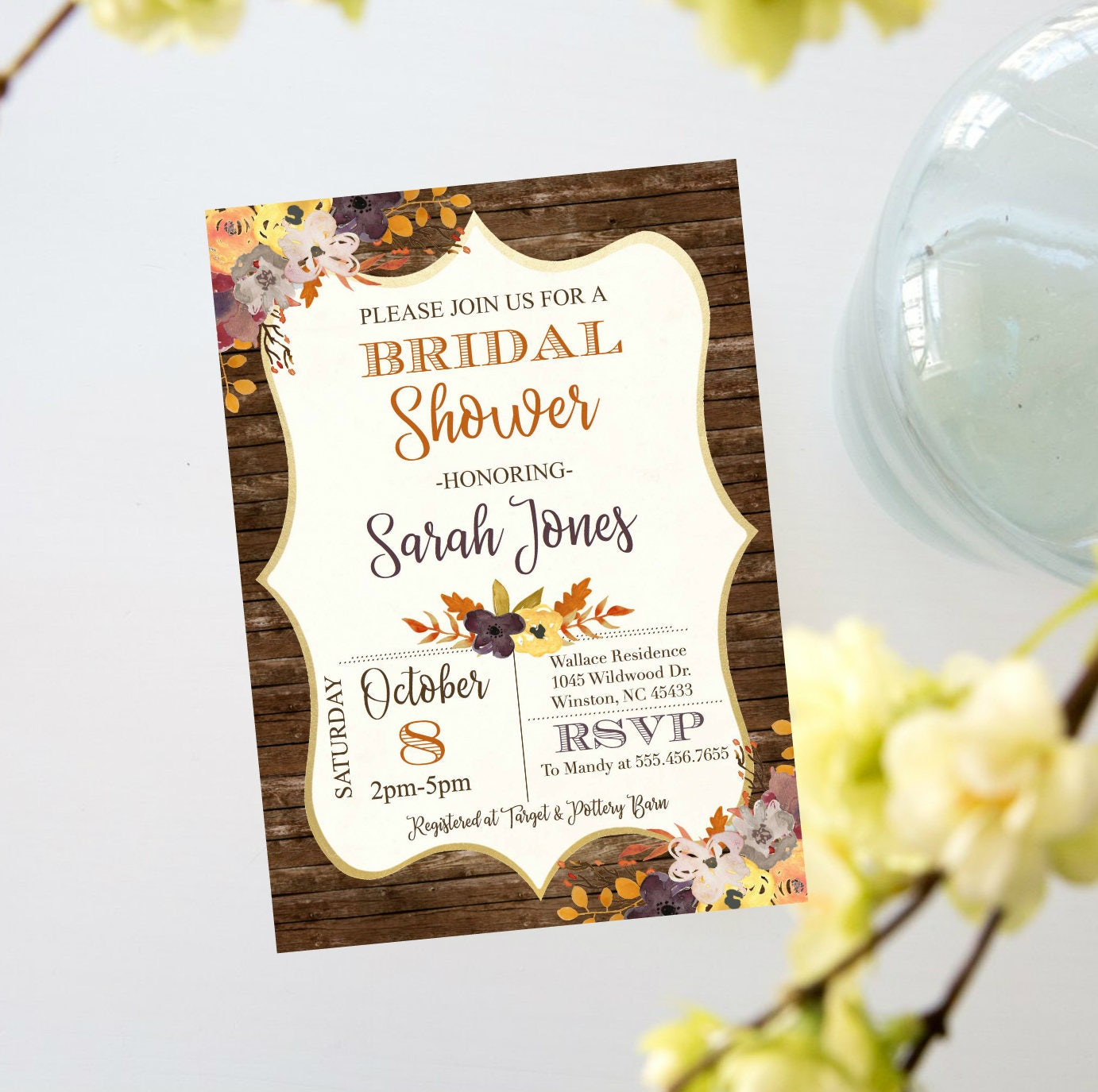 Fall Autumn Shabby Chic Rustic Wood Bridal Shower Invite