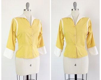 50s Yellow & White Cotton Top / 1950s Vintage Long Sleeve Summer Blouse Shirt / Medium / Size 6
