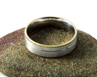Vintage Sterling Silver Ring, Silver and Gold Ring, Silver Band Ring, Band Ring, Wedding Ring, 6mm Band Ring, Size U 1/2, Size 10.5