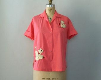 Vintage 1950s Blouse - Pink Cotton Kitten Blouse - No Boys Allowed