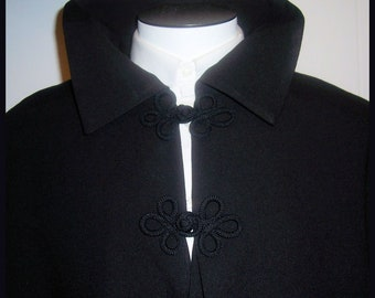 Men's Opera Cape Virgin Wool Fully Lined Black Satin Formal Cloak with Collar Men's S to XXL Floor Length Clergy Cape
