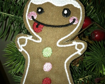 Embroidered Gingerbread Man Ornament or Gift Tag