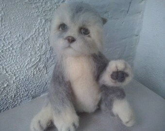 Needle felted cat, soft sculpture,felted animal,realistic felt cat