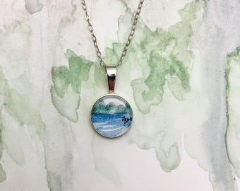 Water View - Abstract Watercolor Necklace - Sterling Silver