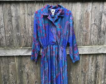Bright Paisley Floral Print Dress