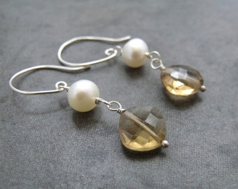 Cognac Whiskey Citrine Cushion Cut and White Pearl Dangle Drop Sterling Silver Earrings
