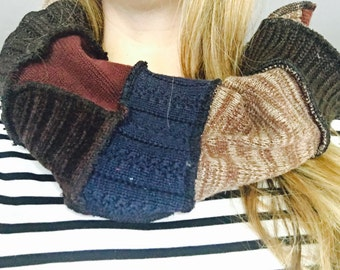 Blue brown burgundy scarf chunky snood infinity scarf patchwork upcycled by HopeFloats