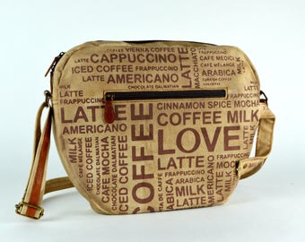 Coffee bag ~ Crossbody Bag ~ Messenger Bag ~ Small Crossbody Bag~ Crossbody Purse ~ COFFEE MUG BAG ~ Utility Bag~ Cute Purse ~ Ready to ship