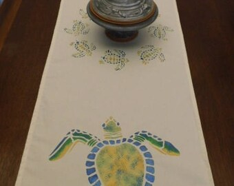 Hawksbill Turtle Table Runner 4 foot