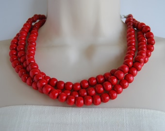 Red Statement Necklace, Red Three Strand Necklace, Red Wood Multi Strand Necklace, Red Beaded Necklace, Red Chunky, Wedding, Bridesmaid