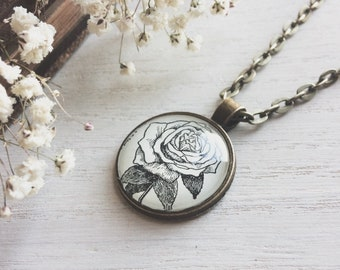 rose necklace - rose - rose pendant - rose jewelry - june birthday - june flower - anniversary gift - bridal jewelry - science gift