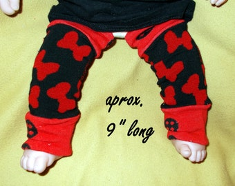 Leg warmer, Infant- Cartoon in red  on black background  -infant leg warmer,  leg warmer, baby girl leg warmer, baby leg warmer