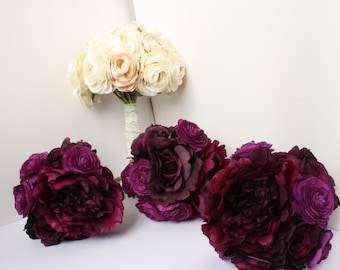 Set of Two 8'' Purple Ranunculus Silk Bouquets, and Two Matching Purple Ranunculus Boutonnieres (Bridesmaids Bouquets, Groomsman Boutonniere
