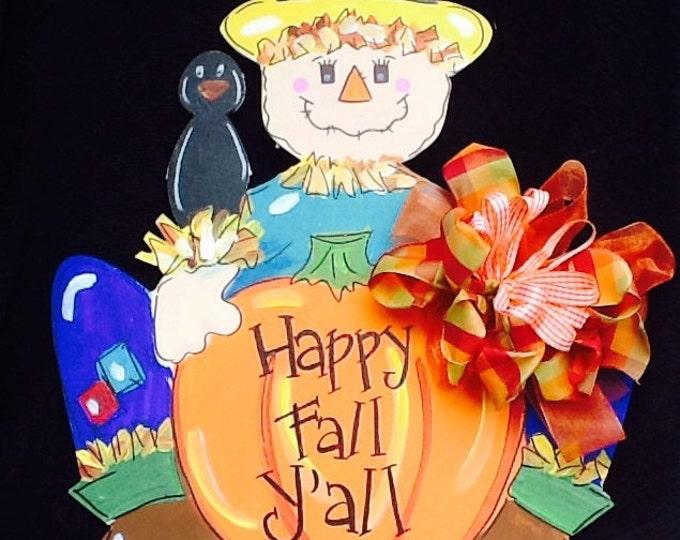 Scarecrow sign, scarecrow door sign, fall door sign, fall sign, fall door hanger, thanksgiving sign, thanksgiving door sign, happy fall