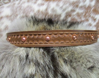 Handmade Leather Hat Band, Tooled Leather Hat Band with Copper Plated Dome Spots, Adjustable Hat Band