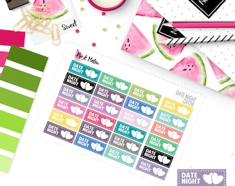 DATE NIGHT | 24 Kiss-Cut Stickers | Functional Sticker | CA126
