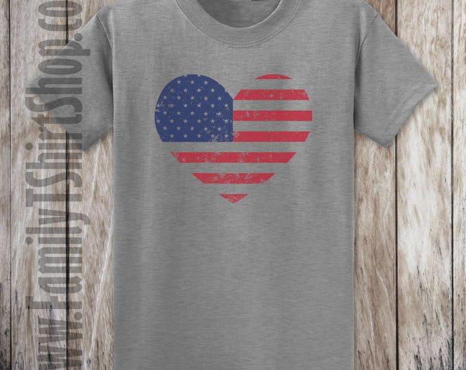 American Flag Heart Distressed T-shirt
