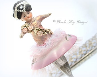 Tiny Dancer Art Doll Ballerina Dancer Doll Decoration Pink FlowersLorelie Kay Original