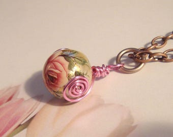 """My#161T A Pretty Pink Rose/Silver Pearl Japanese Tensha Bead! w/Pink Spirals/AntiqueCopper chain 20""""..Bead Size: 15mm"""