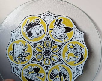 Midcentury  cheese plate/glass trivet FREE SHIPPING!!