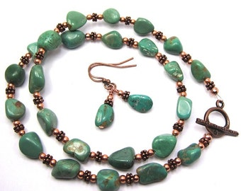 Green Nugget Turquoise and Copper Necklace and Earrings Combo, Handmade Beaded Natural Turquoise Nuggets, Copper Accents, Free US Shipping