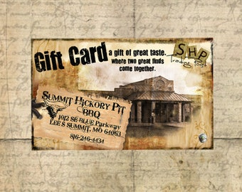 Summit Hickory Pit BBQ 10 Dollar Gift Certificate