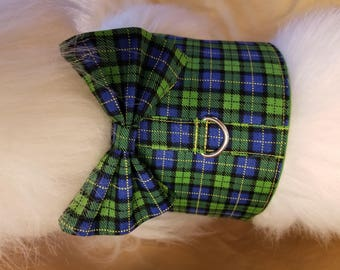 Green and Blue Plaid Dog Harness with Bow Tie