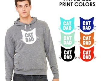 Cat Dad TriBlend Heather Grey Hoodie - Family Photos, Gift for Dad, Gift for Him, Cat Guy, Cat Person, Cat Lady
