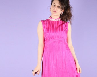 60s Vintage Pink High Society Gown Dress