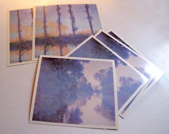 Vintage Claude Monet Large Postcards Giverny Poplars Lot of 6, Lake Giverny Blue White Print, Monet Fine Art Prints, Metropolitan Museum