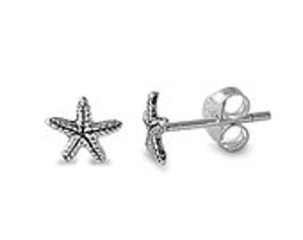 Sterling Silver Small Tiny Fancy Sartfish Stud Post Earrings, Starfish Earrings, Beach Wedding Earrings, Starfish Earrings, Beach Jewelry