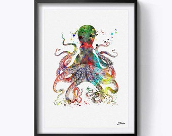 octopus art print octopus print watercolor octopus poster wall art decor wall poster octopus decor watercolor painting A147